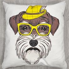 Подушки с принтом Собака хипстер