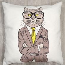 Подушки с принтом Кот в очках