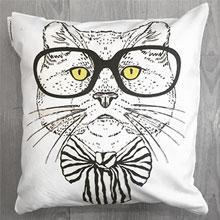 Подушки с принтом Кот с бабочкой