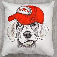 Подушки с принтом Собака в кепке