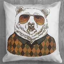 Подушки с принтом Медведь в очках