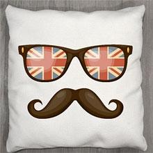 Подушки с принтом Очки Британия